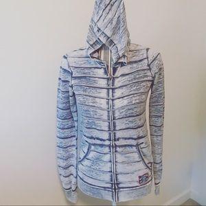 Billabong Gray Distressed Hoodie Jacket
